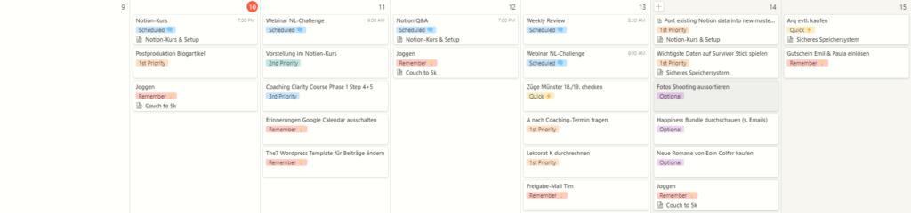 Ausschnitt meiner Aufgabenplanung in Notion